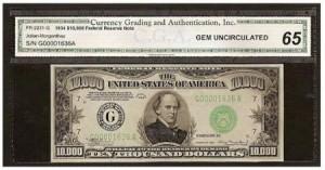 billetes de dólares 10000 dolares