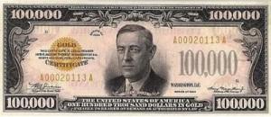 Billete de cien mil dólares